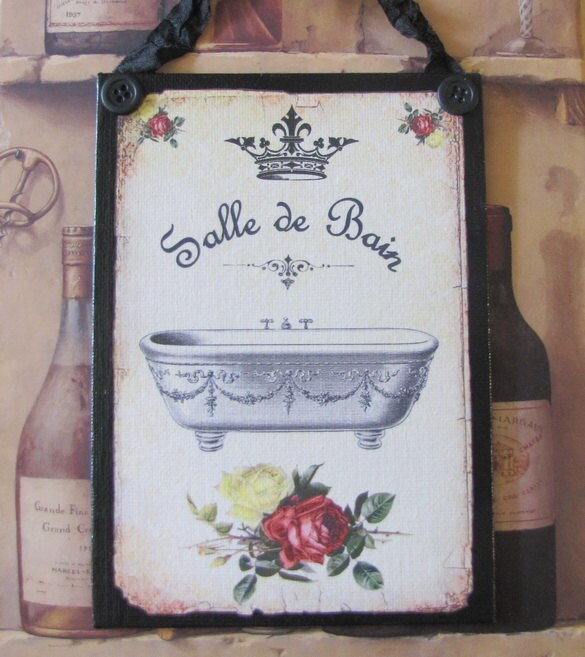 Paris Bathroom Decor Sign Shabby Chic Red And Black French