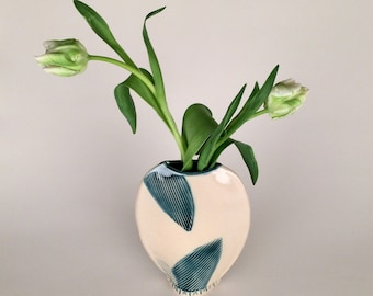 Flower Vase with Abstract Leaf Pattern