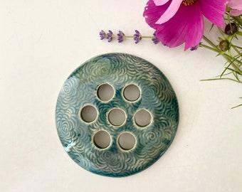 Ceramic flower frog Mason jar topper