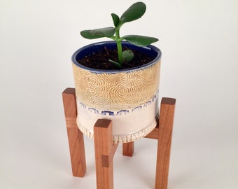Succulent Planter with Wood Stand