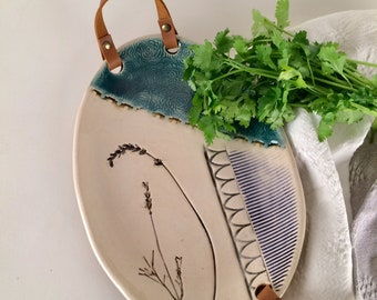 Decorative Ceramic Serving Tray with Leather Handles