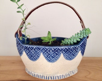 Ceramic Planter Basket with Leather Handle