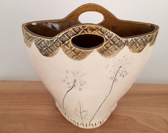 Large Pottery Basket Vase