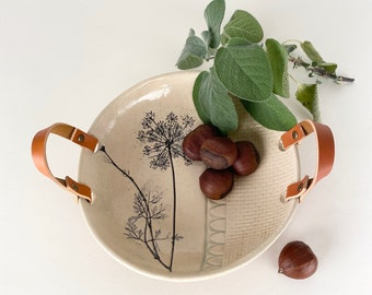 Serving Bowl with Leather Handles