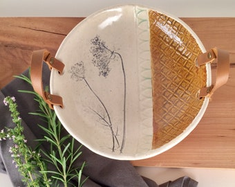 Decorative Serving Bowl with Leather Handles