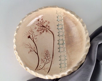Decorative Serving Bowl with Queen Anne's Lace Imprint