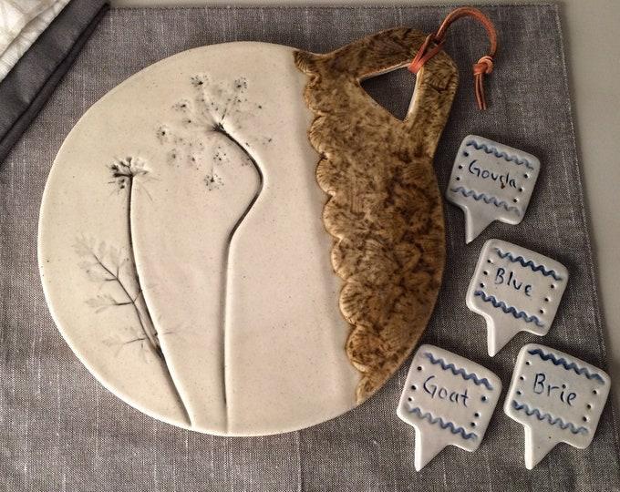 Featured listing image: Cheese Board Set with Queen Ann's Lace Imprint