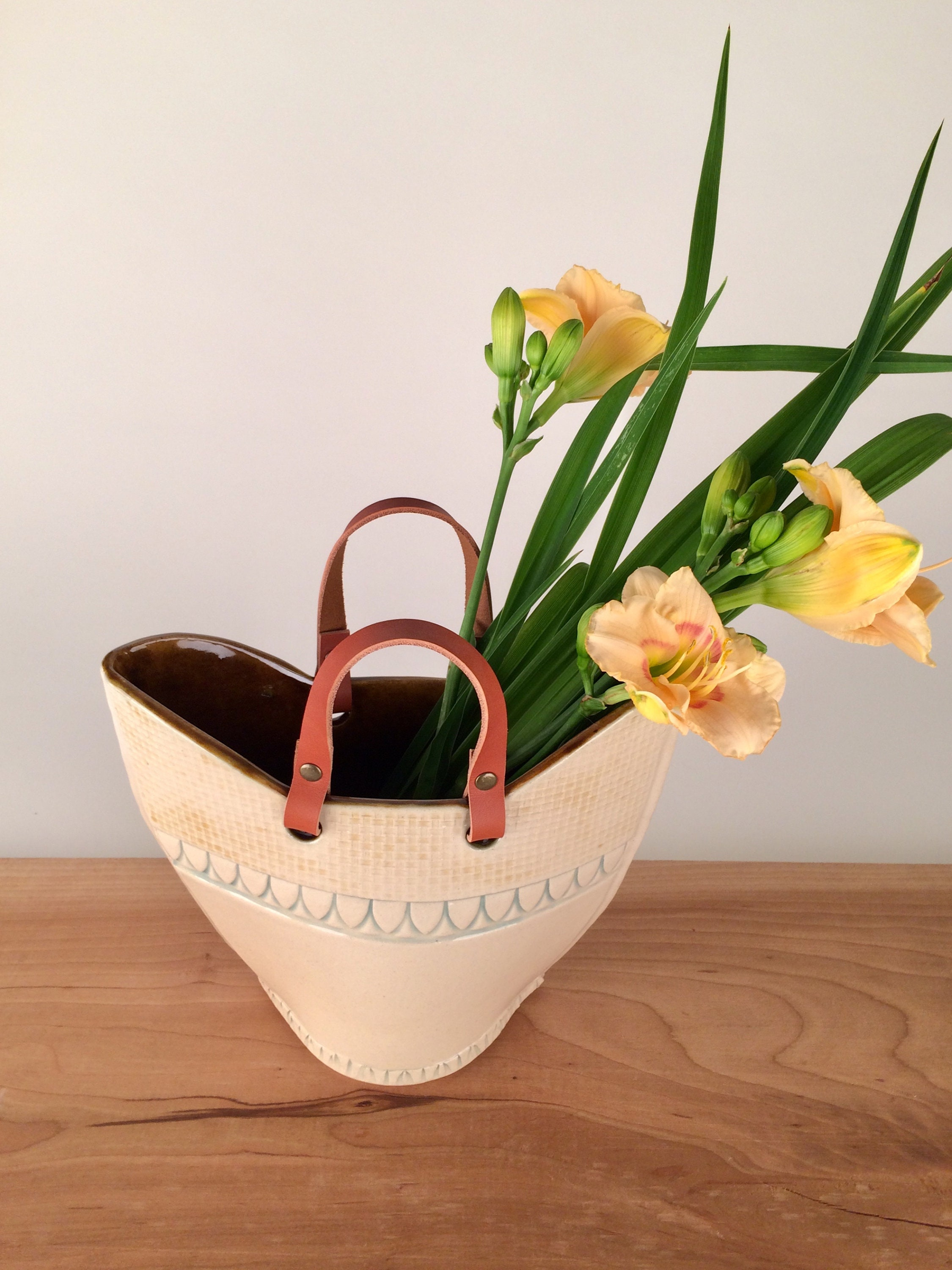 Large Modern Flower Vase With Leather Handles