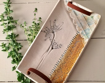 Serving Tray with Leather Handles