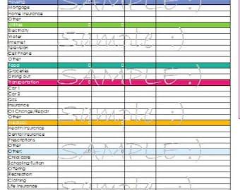 budget spreadsheet etsy