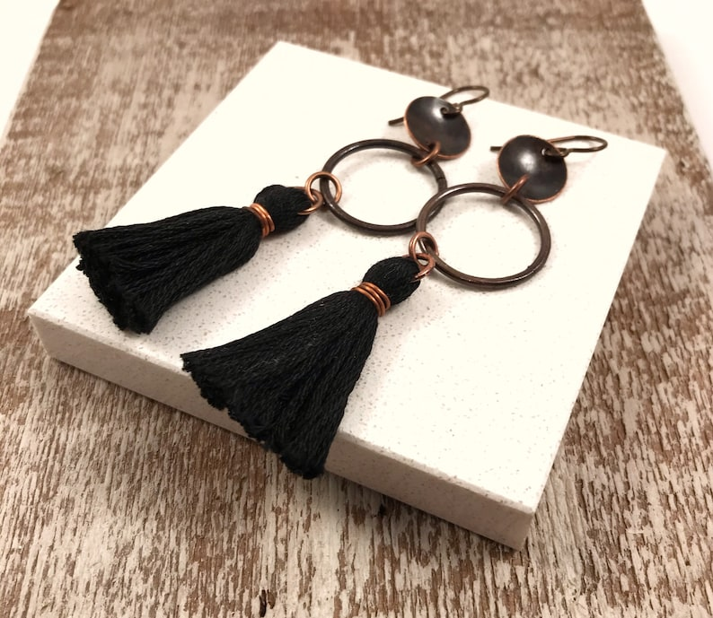 long black earrings long earrings boho earrings bohemian earrings Black tassel earrings