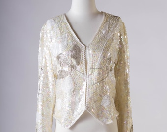 80's White Sequin Jacket