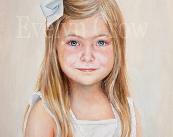 Oil Painting - Custom Portraits from Your Photos - Child Portrait  20x16 inches (Head and Shoulders)