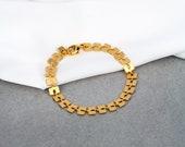 Gold Flat Square Mabel Bracelet | Links Collection | Geometric Bracelet | Statement Bracelet | Modern Gift | Hand Made | Gift For Her