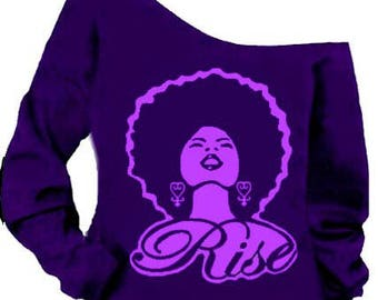 The Rise Off the Shoulder Sweatshirt in Prince Purple