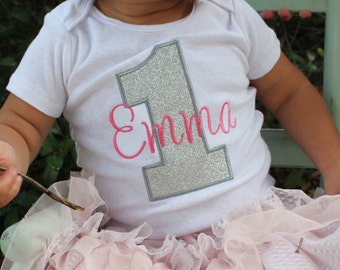 Silver and Gold Birthday Shirt - Pink and Silver Birthday Outfit - Pink and Silver First Birthday Shirt - Girls First Birthday Outfits