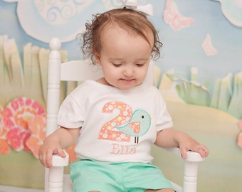 Girls First Birthday Outfit - Girls First Birthday Bird Shirt - Coral and Mint First Birthday Shirt