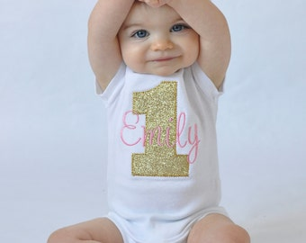 Pink and Gold Birthday Shirt - Pink and Gold Birthday Outfit - Pink and Gold First Birthday Shirt - Girls First Birthday Outfits