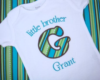 Little Brother Shirt - Big Brother Little Brother - Sibling Outfit - Initial Applique