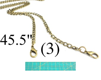 NEW (3) 45 inch antique brass purse chain - shoulder length