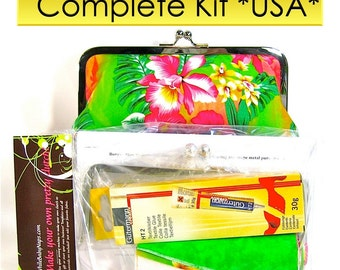 COMPLETE Make Your Own Clutch Kit with Resort fabric included - & 6 patterns for USA customers