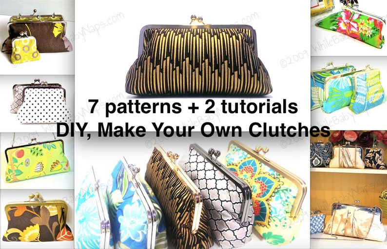 Clutch Tutorials PDF - NOW with 7 patterns - 10 inch, 8 inch, 6 inch, 4 5  inch, 3 inch