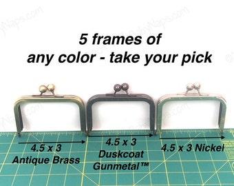 5 frames of 4.5x3 purse frame - 4 inch wallet sized clutch frame in Antique Brass, Duskcoat Gunmetal™ and Nickel