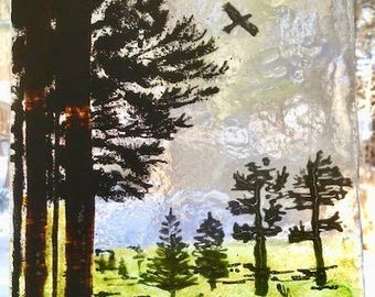 Fused Glass Pine Trees Raven Mountain  Kiln Fired Spring