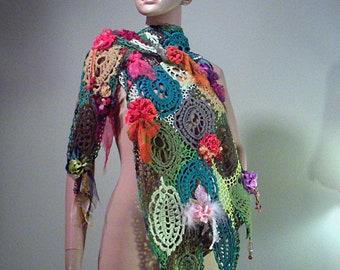 Top Quality Italian Materials ELEGANT SWEATERBLOUSE Wearable Fiber Art As It/'s Finest Blowout Sale Freeform Crochet Technique