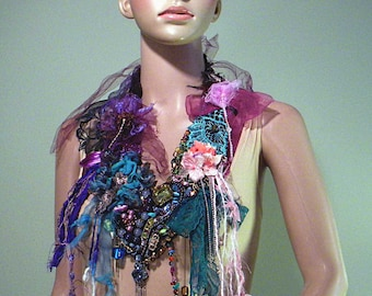 EXQUISITE BOHEMIAN NECKLACE - Wearable Fiber Art Jewelry, Bold Evening Drama, Freeform Crocheted, Adjustable Length, Richly Embellished