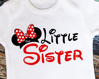 Personalized Mouse Ears Little Sister Shirt or Bodysuit - Personalized with ANY Name!