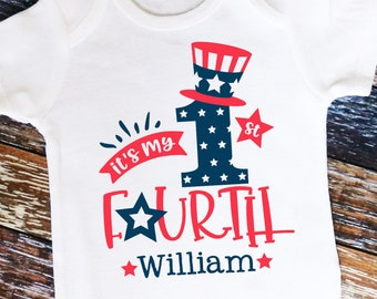 Personalized It's My 1st Fourth Shirt or Bodysuit. Patriotic 4th of July Independence Day Shirt or Bodysuit.