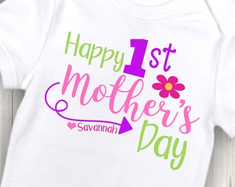 Personalized Happy 1st Mother's Day shirt or bodysuit - Perfect for Mother's Day!