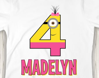 Personalized Girl Minion Number Birthday Shirt or Bodysuit - Personalized with ANY name and age!