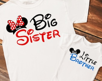 Personalized Mouse Ears Big Sister and Little Brother Set of Shirts or Bodysuits - Personalized with ANY Names!  Set of 2 Shirts!