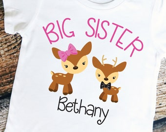 Adorable Deer Big Sister Shirt/Bodysuit - Personalized with ANY Name