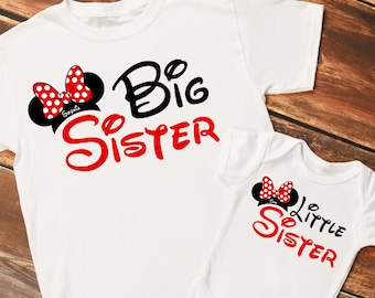 Personalized Mouse Ears Big Sister and Little Sister Set of Shirts or Bodysuits - Personalized with ANY Names!  Set of 2 Shirts!