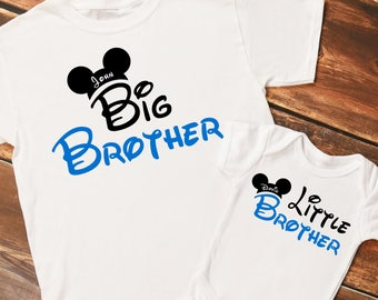 Personalized Mouse Ears Big Brother and Little Brother Set of Shirts or Bodysuits - Personalized with ANY Names - Set of 2 shirts!