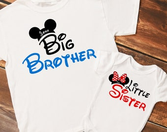 Personalized Mouse Ears Big Brother and Little Sister Set of Shirts or Bodysuits - Personalized with ANY Names - Set of 2 shirts!