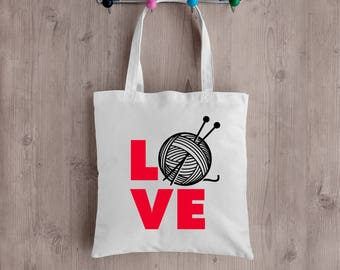 LOVE Knitting Tote Bag. Perfect for any knitter!  Great gift idea!