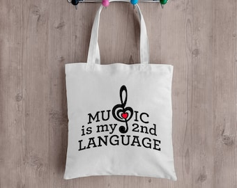 Music is My 2nd Language Tote Bag. Perfect for any musician!  Great gift idea!