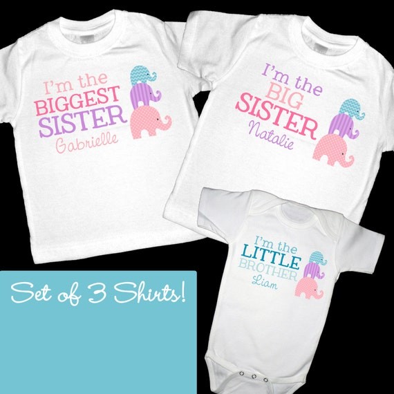 4d9e61fa Set of 3 Personalized Elephants Sister Shirts or Bodysuit | Etsy