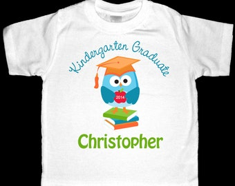 Personalized Kindergarten Graduate Scholarly Owl Shirt or Bodysuit for a Boy - Personalized with ANY Name and the Year