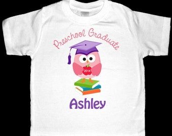 Personalized Preschool Graduate Scholarly Owl Shirt or Bodysuit for a Girl - Personalized with ANY Name and the Year