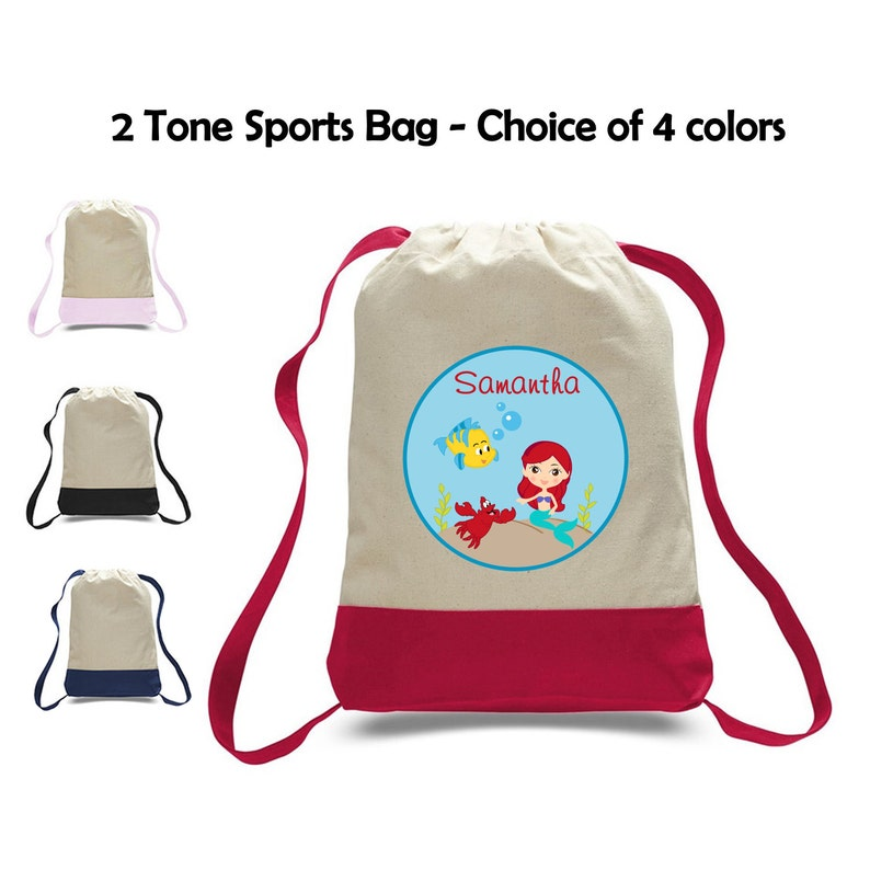 b922ba766e3e Personalized Little Mermaid Two-Tone Canvas Sports Bag