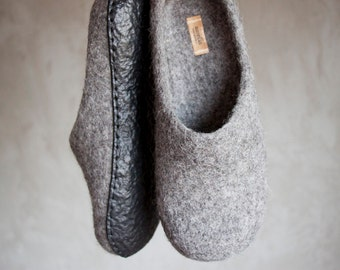 Felted grey slippers organic sheep wool clogs gray home shoes natural slippers house women men shoes unisex slippers - handmade to order