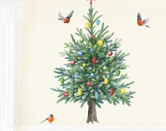 Fir Tree Wall Decal, Christmas Tree Wall Sticker, Tree Mural, Nursery Woodland Art, Forest Nursery Decal ( Not Vinyl, PVC free )