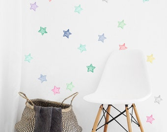 Watercolor Stars Wall Decals, Fabric Wall Stickers (Not Vinyl, PVC free)