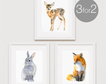 Woodland Decor Set, Nursery Woodland Art, Forest Print Set, Deer, Rabbit, Fox, Woodland Nursery, Set of 3 - for the price of 2