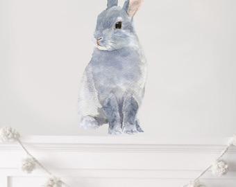 Nursery Decor, Woodland Nursery, Nursery Art, Rabbit Wall Decal, Bunny Rabbit, Bunny Wall Sticker, Playroom Art - PVC free, Fabric Decal